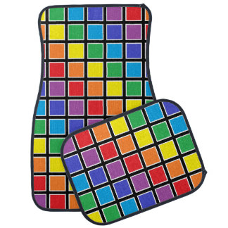 White Outlined Rainbow Squares Car Mat