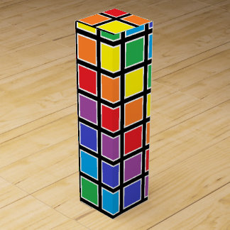 White Outlined Rainbow Squares Wine Gift Box