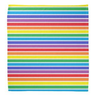 White Outlined Rainbow Stripes Bandana