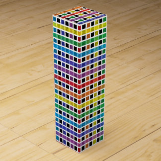 White Outlined Rainbow Weave Wine Gift Box