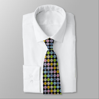 White Outlined Static Pastel Rainbow Polka Dots Tie