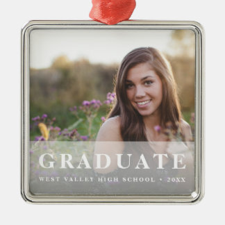 White Overlay | Graduation Photo Christmas Ornament