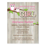 White Owl Chevron Baby Shower Invitation Postcard