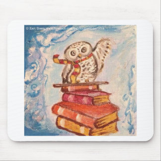 White Owl on Books Mouse Pads