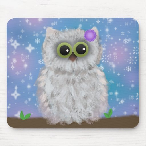 White Owl Painting on Blue Glittery / Snowy Sky Mousepads