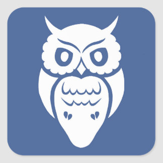 White Owl Square Sticker