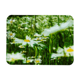 White Oxeye Daisy Abstract Floral Rectangular Photo Magnet