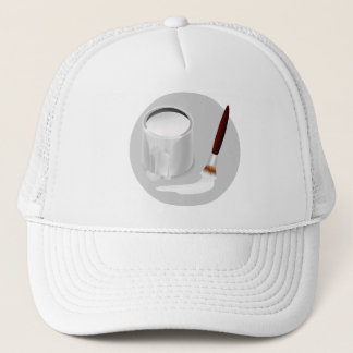 WHITE PAINT AND PAINTBRUSH Trucker Hat