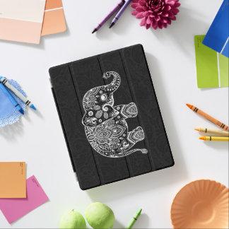 White paisley elephant black background iPad cover