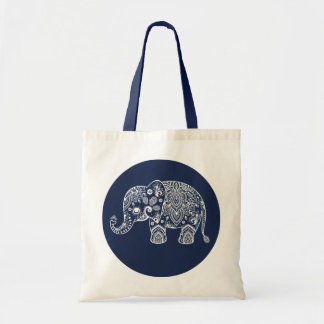White Paisley Elephant Illustration On Blue Circle Tote Bag