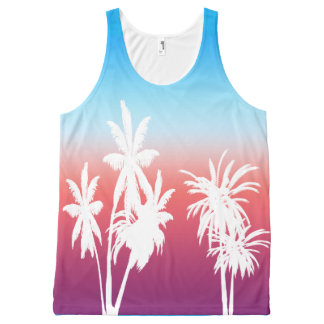 White Palm Trees Purple Haze Sunset Blue Sky All-Over Print Tank Top
