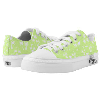 White Palms on Lime Low Tops