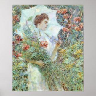 White Parasol Impressionism Poster