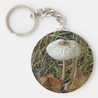 White Parasol Mushroom Coordinating Items Basic Round Button Key Ring