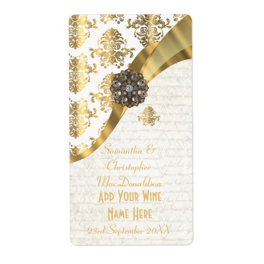 White parchment  gold damask wedding wine bottle shipping label