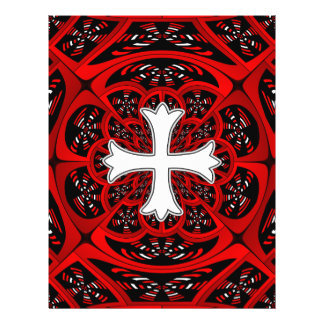 White patonce cross 21.5 cm x 28 cm flyer