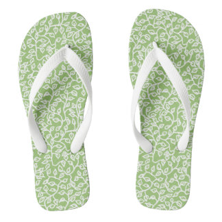 White Pattern of Leaves on Apple Green Flip Flops