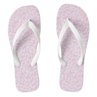 White Pattern of Leaves on Pale Pink Flip Flops