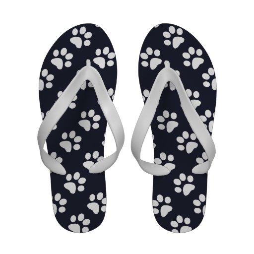 White Paw Print Flip Flop Style Sandals