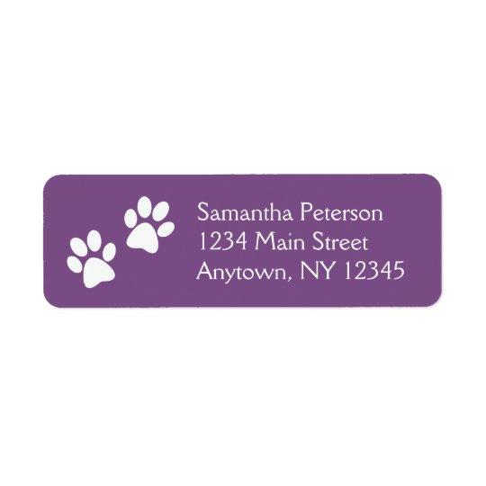 White Paw Prints Design Return Address Labels