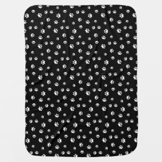 White Paw Prints Pattern Baby Blanket