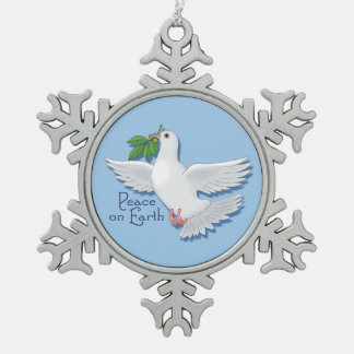 White Peace Dove on Earth Snowflake Pewter Christmas Ornament