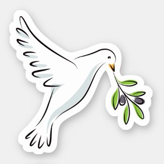 White peace dove with olive branch