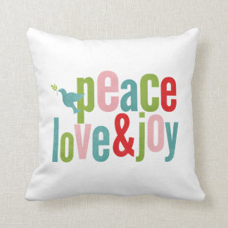 White Peace Love and Joy Color Christmas Throw Pillow