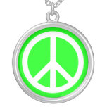 White Peace Sign on Lime