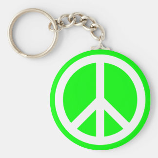White Peace Sign on Lime Basic Round Button Key Ring