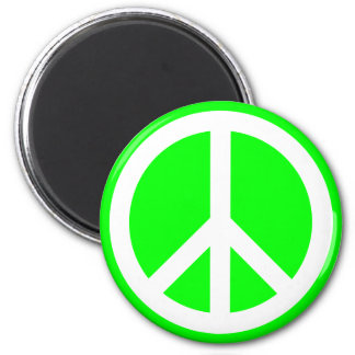 White Peace Sign on Lime Magnet
