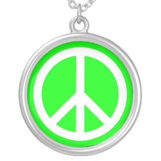 White Peace Sign on Lime Silver Plated Necklace