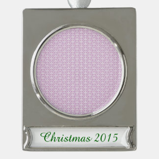 White Peace Signs on Pastel Lilac Silver Plated Banner Ornament