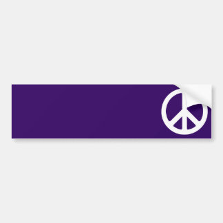 White Peace Symbol on Dark Purple Bumper Sticker