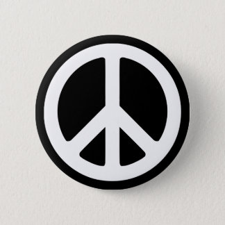 White Peace Symbol Template 6 Cm Round Badge