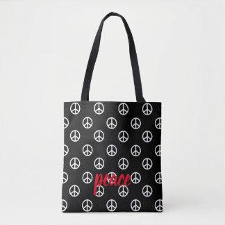 White Peace Symbols on Black Personalized Tote Bag