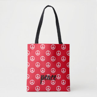 White Peace Symbols on Bright Red Personalized Tote Bag