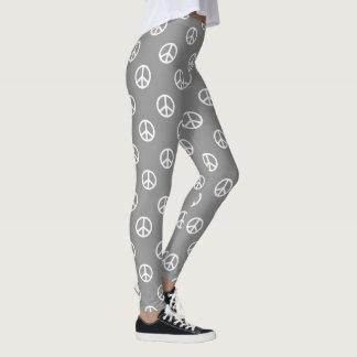 White Peace Symbols on Dove Grey Leggings