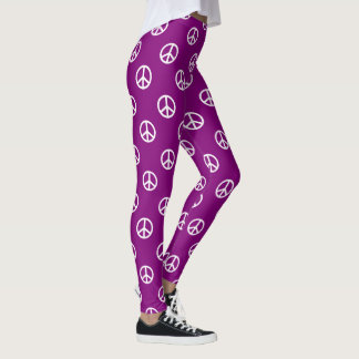 White Peace Symbols on Gypsy Purple Leggings