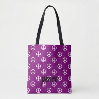 White Peace Symbols on Gypsy Purple Personalized Tote Bag
