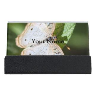 White Peacock Anartia Jatrophae Desk Business Card Holder