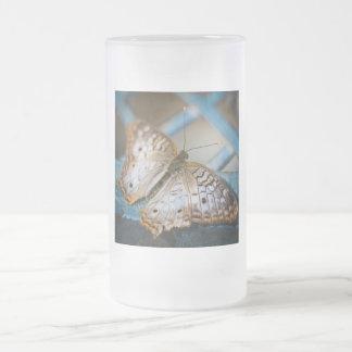 White Peacock Anartia Jatrophae Frosted Glass Mug
