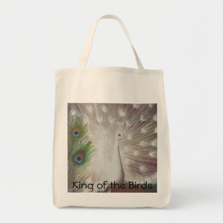 White Peacock and Green Peacock Feather art Print Grocery Tote Bag