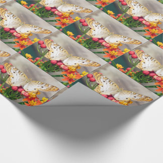 White Peacock Butterfly Wrapping Paper