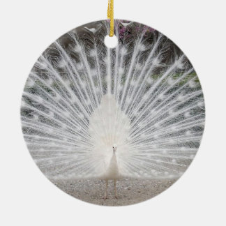 white peacock christmas ornament