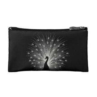 White peacock cosmetic bag