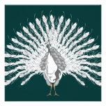 White Peacock Invitations