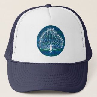 White Peacock on a Blue and Aqua circle Trucker Hat
