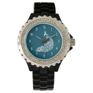 White Peacock on Teal Chic Stylish Art Deco Design Watch