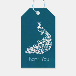 White Peacock on Teal Chic Stylish Thank You Gift Tags